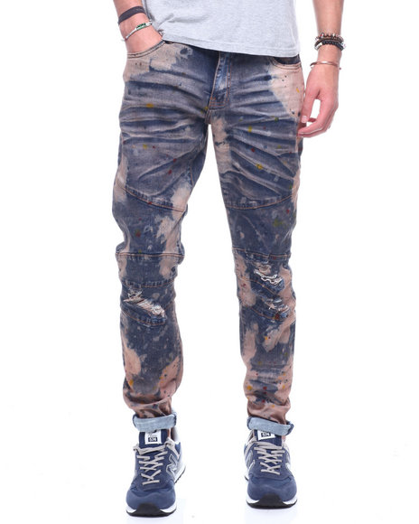 Crysp - Montana Paint Splatter Distressed Moto Jean