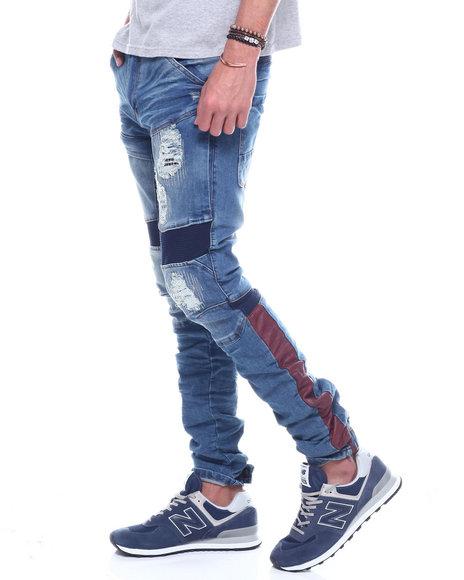 Iroochi - Distressed Knit Ribbed Moto Jean