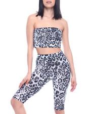 Fashion Lab - Set : Animal Print Tube Top & High Waist Stretch Bermuda-2321276