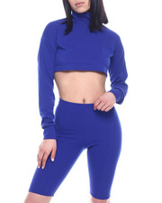 Fashion Lab - L/S Set : High Neck Ruched Sleeve Crop Top & High Waist Stretch Bermuda-2321305