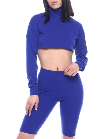 Fashion Lab - L/S Set : High Neck Ruched Sleeve Crop Top & High Waist Stretch Bermuda