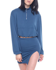 Sets - Set : L/S Half Zip Elastic Waist Band Crop & Slit Mini Skirt-2321951