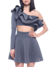 Sets - L/S Set : Ruffle One Shoulder Crop & Skater Skirt-2321321