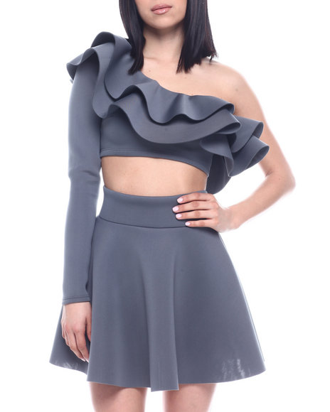 Fashion Lab - L/S Set : Ruffle One Shoulder Crop & Skater Skirt