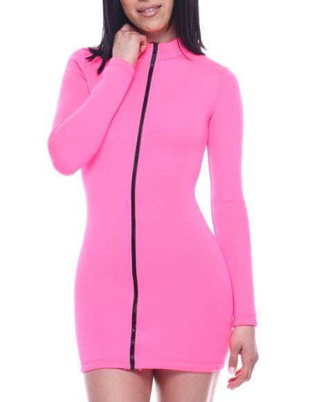 Fashion Lab - L/S Neoprene Full Zip HI Neck Dress