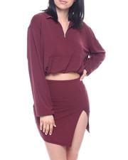 Fashion Lab - Set : L/S Half Zip Elastic Waist Band Crop & Slit Mini Skirt-2321947