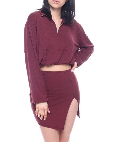 Fashion Lab - Set : L/S Half Zip Elastic Waist Band Crop & Slit Mini Skirt