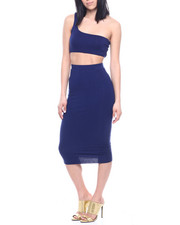 Fashion Lab - S/L Set : One Shoulder Bandeau Top & Ruched Side High Waist Midi Skirt-2321289
