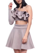 Sets - L/S Set : Ruffle One Shoulder Crop & Skater Skirt-2321330