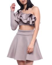 Fashion Lab - L/S Set : Ruffle One Shoulder Crop & Skater Skirt-2321330