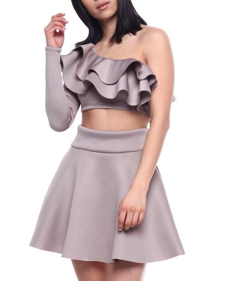 Fashion Lab - L/S Set : Ruffle One Shoulder Crop & Skater Skirt