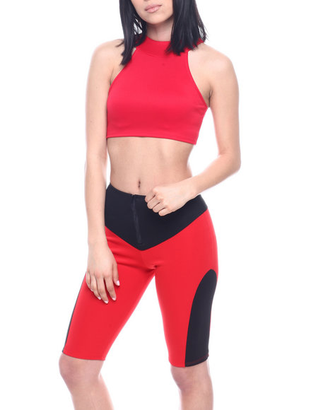 Fashion Lab - S/L Set : Halter Neck Crop Top & Color Block Bermuda