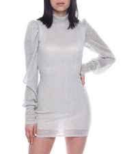 Dresses - L/S Mock Neck Textured Mini Dress-2321959
