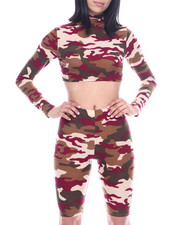 Fashion Lab - L/S Set : Zip Hi Neck Crop & High Waist Stretch Bermuda-2321338