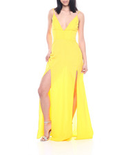 Dresses - S/L V-neck Double Slit Front Maxi Dress-2321317