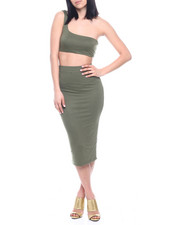 Sets - S/L Set : One Shoulder Bandeau Top & Ruched Side High Waist Midi Skirt-2321281