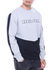 Sweatshirts & Sweaters - Cut and Sew Zip Detail Crewneck Sweatshirt-2321977