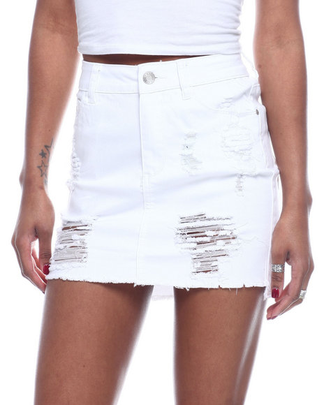 Fashion Lab - Destructed Frayed Hem Mini Skirt
