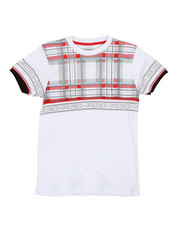 Tops - Plaid W/ Taping Tee (8-20)-2320143