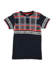 Tops - Plaid W/ Taping Tee (8-20)-2320148