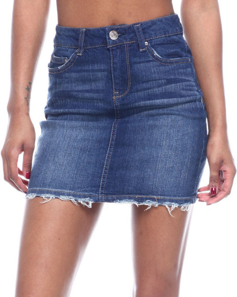 Almost Famous - 5PKT 1BTTN Frayed Hem Denim Skirt