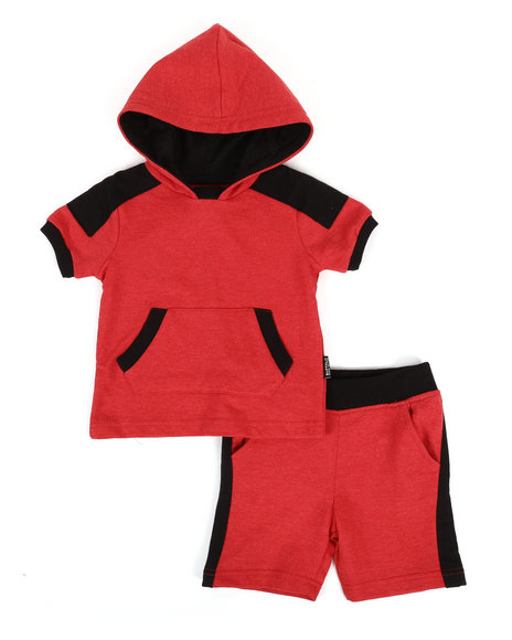 Buffalo - 2 Piece Marled Jersey Hooded Tee & Shorts Set (2T-4T)