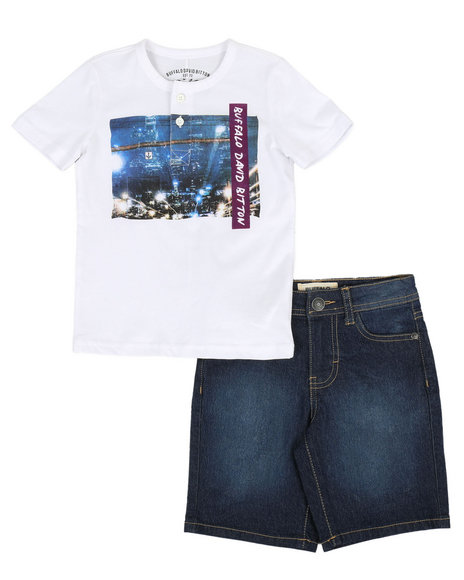Buffalo - 2 Piece Henley Tee & Denim Shorts Set (4-7)