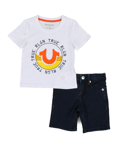 True Religion - 2 Piece HS Tee & Shorts Set (2T-4T)