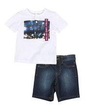 Buffalo - 2 Piece Henley Tee & Denim Shorts Set (2T-4T)-2321253
