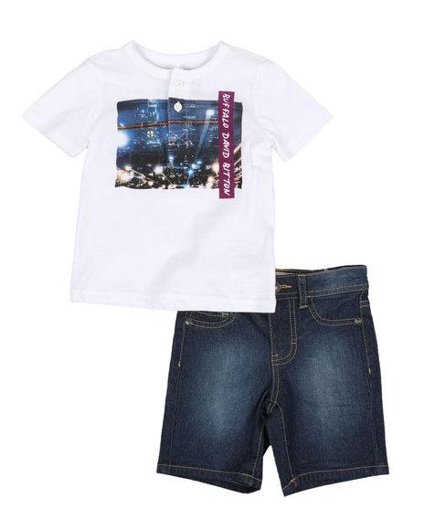 Buffalo - 2 Piece Henley Tee & Denim Shorts Set (2T-4T)