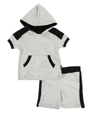 Sets - 2 Piece Marled Jersey Hood Tee & Shorts Set (2T-4T)-2321334
