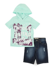 Buffalo - 2 Piece Graphic Hooded Tee & Denim Shorts Set (4-7)-2321248