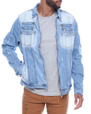 Denim Jackets - distressed zipper denim jacket-2323111