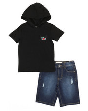 Buffalo - 2 Piece Graphic Hooded Tee & Denim Shorts Set (4-7)-2321271