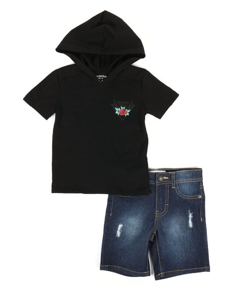 Buffalo - 2 Piece Graphic Hooded Tee & Denim Shorts Set (2T-4T)