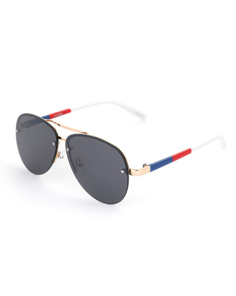 Steve Madden - Flat Lens Rimless Aviator Sunglasses