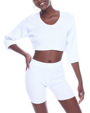 Athleisure for Women - Ribbed L/S Crop Top & Bike Short Set-2322847