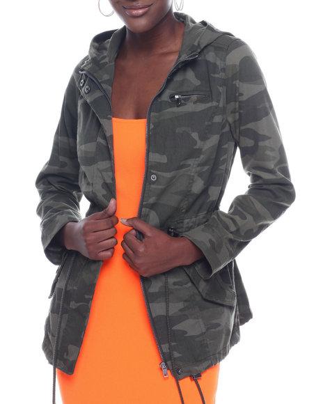Fashion Lab - Hooded Drawstring Detail Anorak Jacket