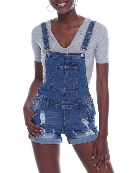 Almost Famous - Roll Cuff Distressed Denim Shortall