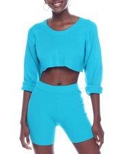 Women - Ribbed L/S Crop Top & Bike Short Set-2322851