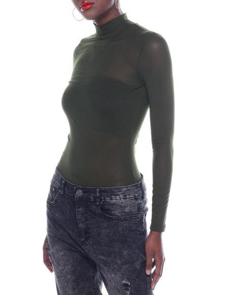 Fashion Lab - Hi Neck L/S Mesh Bodysuit