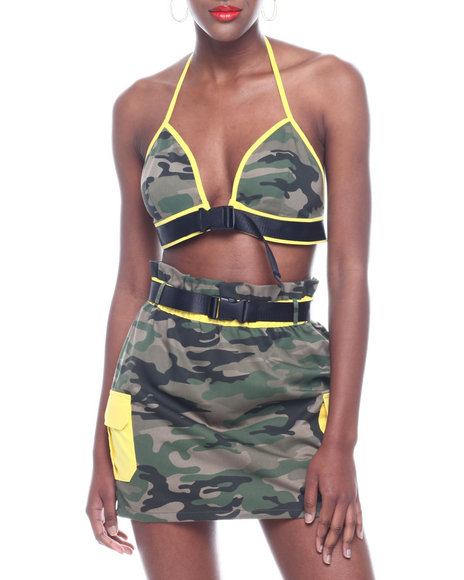 Wow Couture - Set: Camo Color Block Belted Triangle Bra Top & Skirt