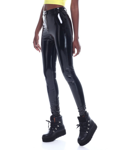 Fashion Lab - Vinyl Zip Front Pant