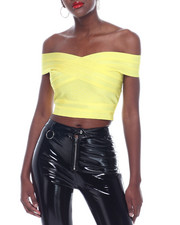 Wow Couture - Off Shoulder Bandage Crop Top-2322510