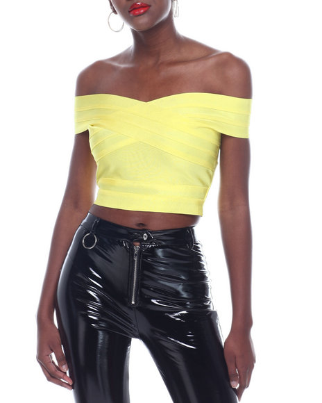 Wow Couture - Off Shoulder Bandage Crop Top