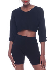 Women - Ribbed L/S Crop Top & Bike Short Set-2322843