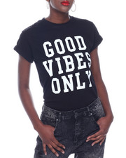 Spring-Summer-W - Good Vibes Only S/S Roll Cuff Tee-2322881