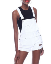 Almost Famous - Destructed Fray Hem Denim Shortall-2322660