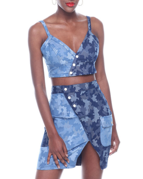 Wow Couture - Set: PRTD Denim Wrap Snap Top & Wrap Skirt w/ Cargo Pocket