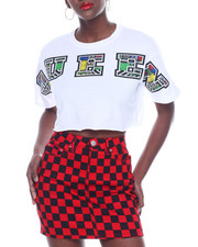 Women - Queen Fill In Print S/S Cut Off Crop Tee-2322799